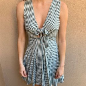 LULU'S WHITE AND SAGE GREEN TIE FRONT SKATER DRESS
